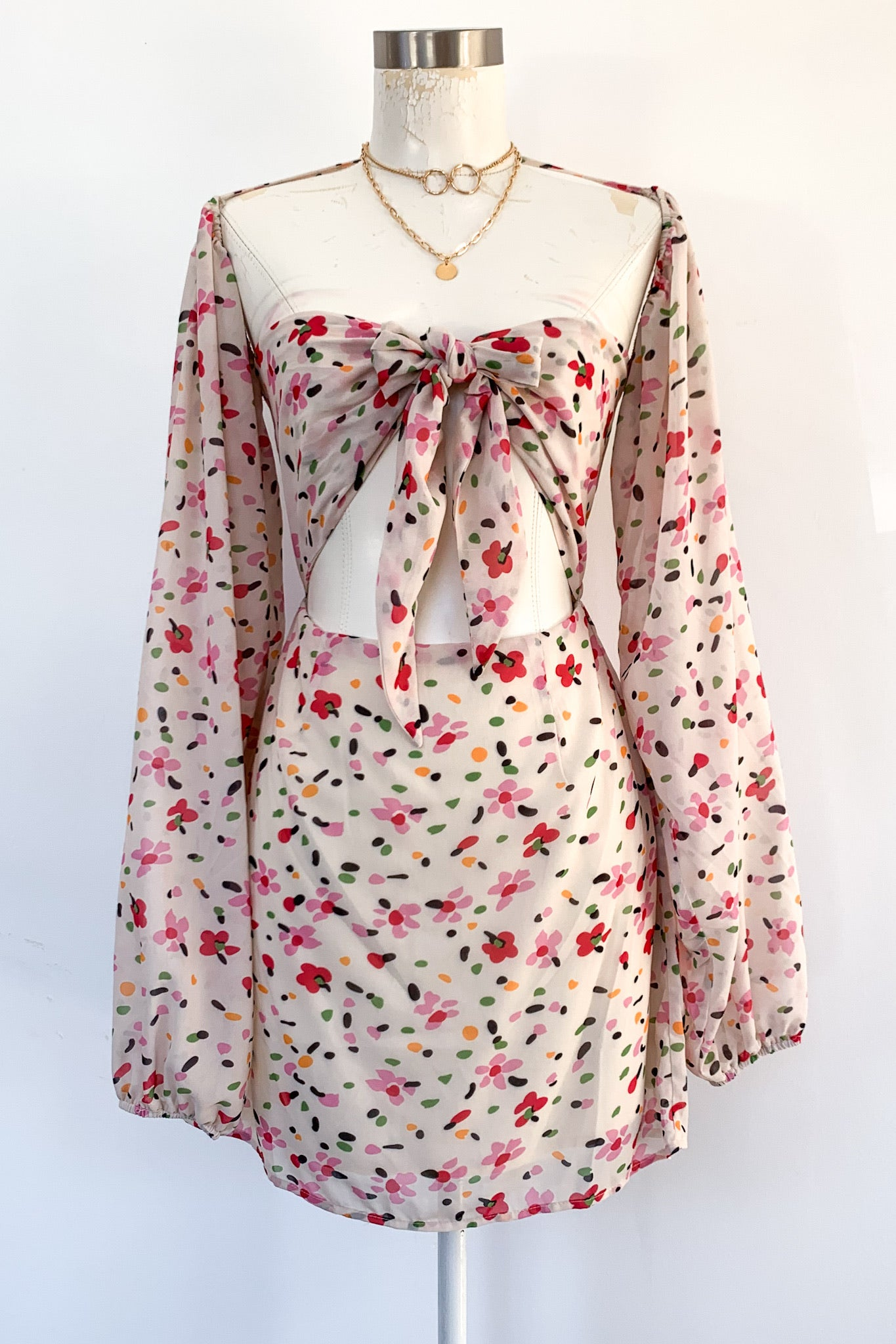 Jetset Mini Dress-Beige Floral