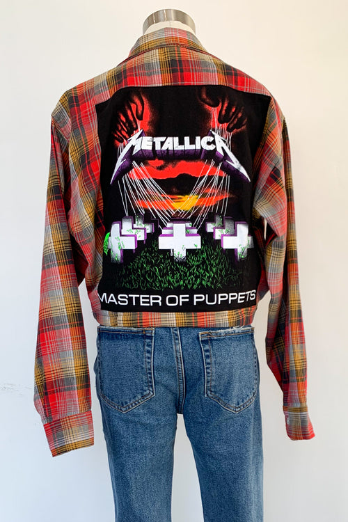 Vintage Cropped Red & Mustard Flannel Jacket-Metallica
