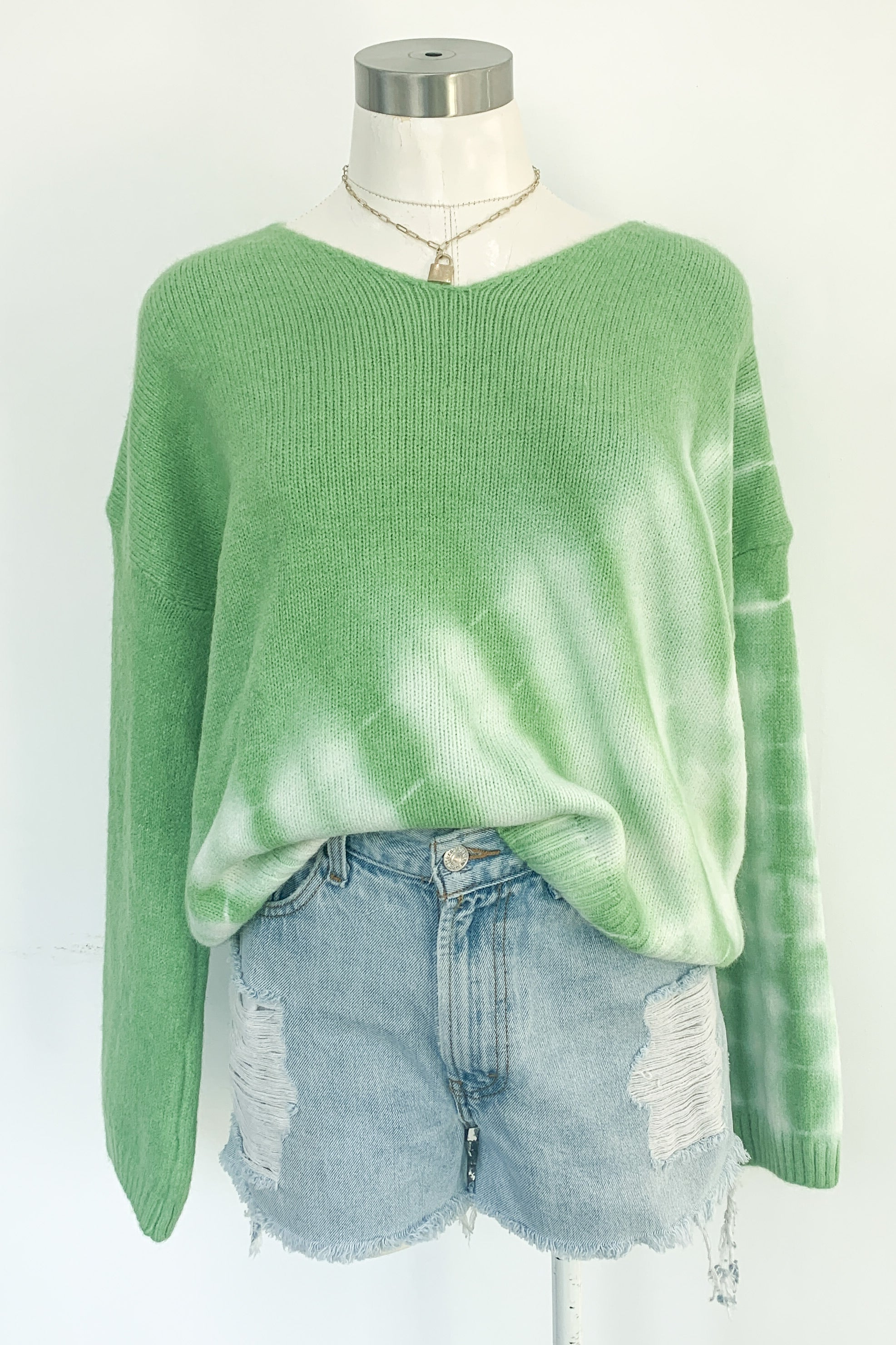 Tie Dye One On Sweater-Green