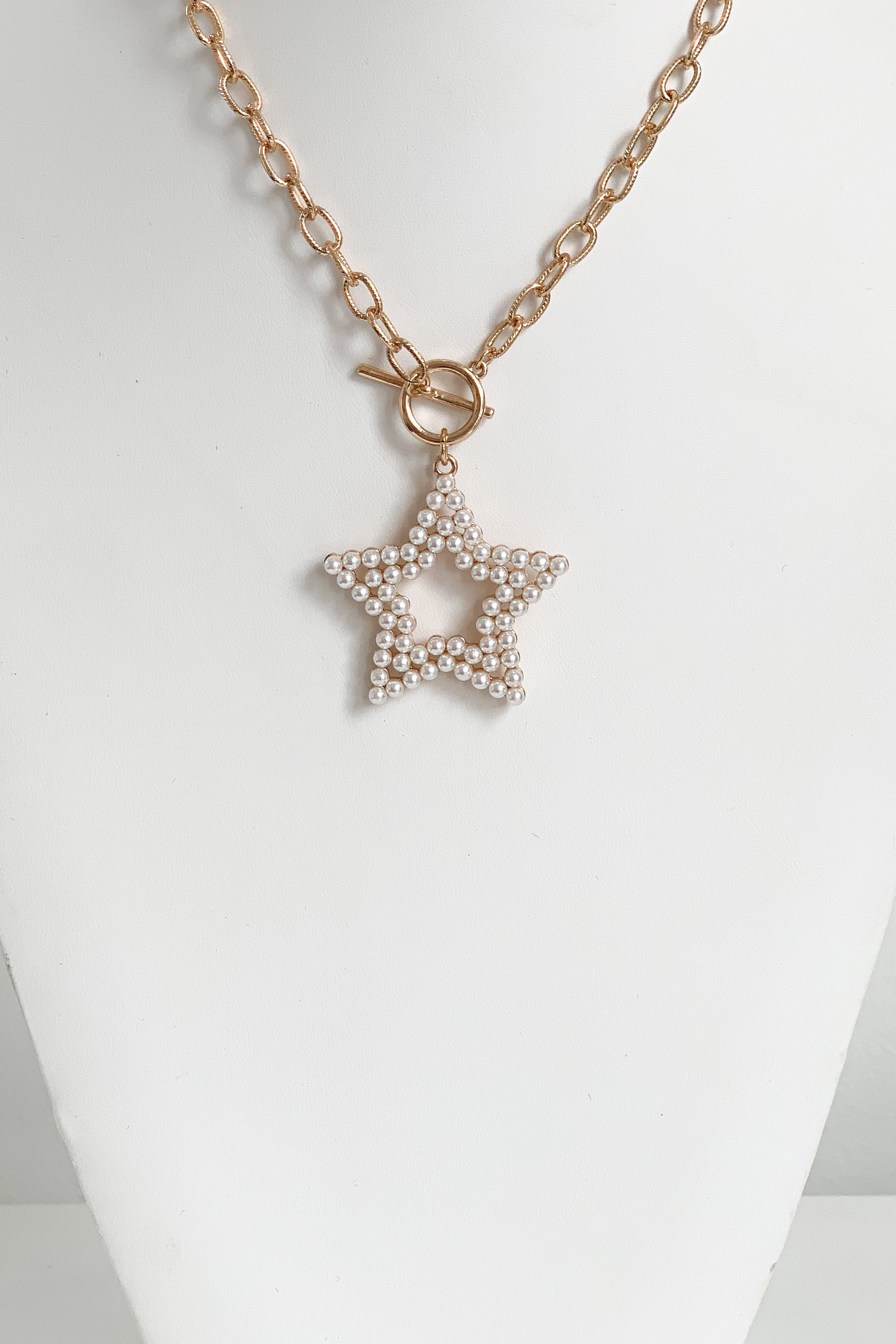 Pearl Texas Star Necklace-Gold