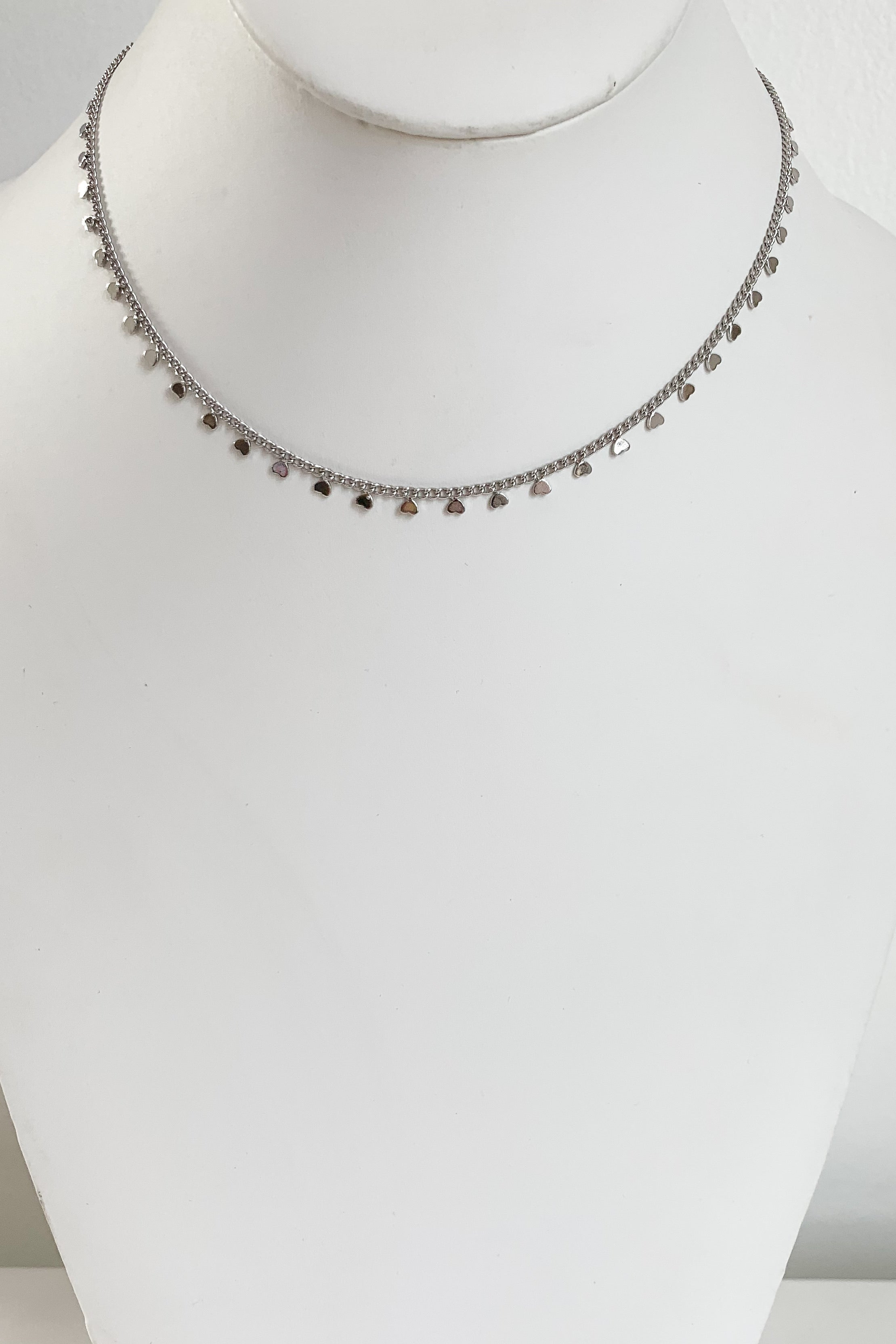 Heart Lineup Necklace-Silver