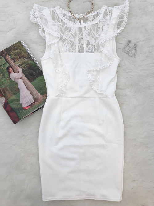 Take Her Place Dress-White