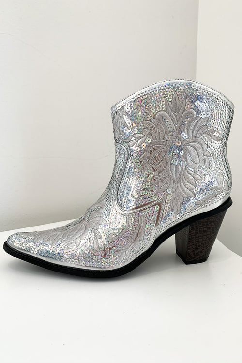 American Beauty Short Boots-Silver