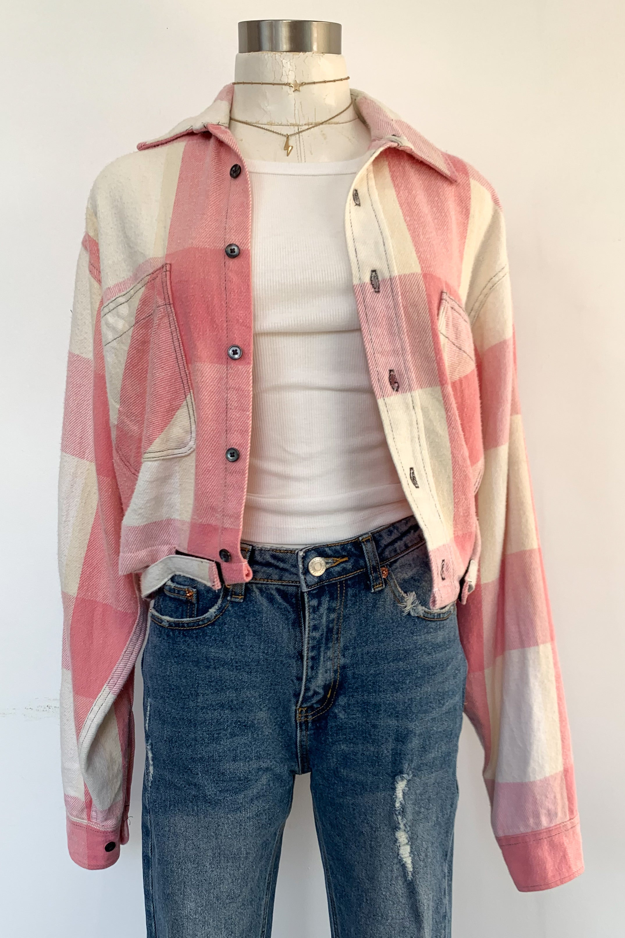 Cropped Pink & Cream Flannel Jacket-Motley Crue