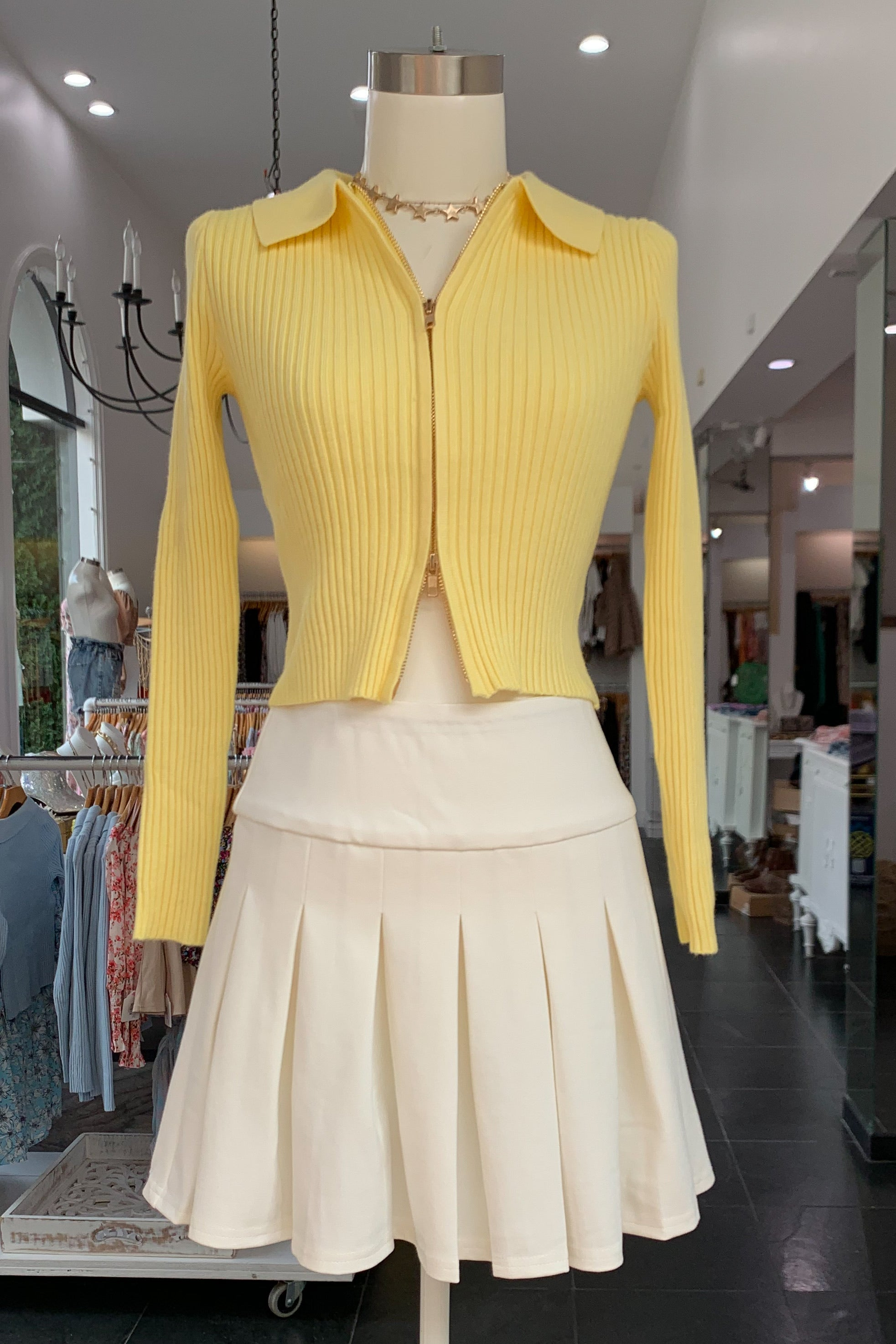 Up or Down Sweater-Yellow
