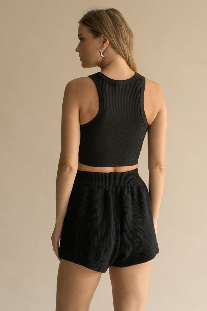 Tucker Cropped Tank Top-Black