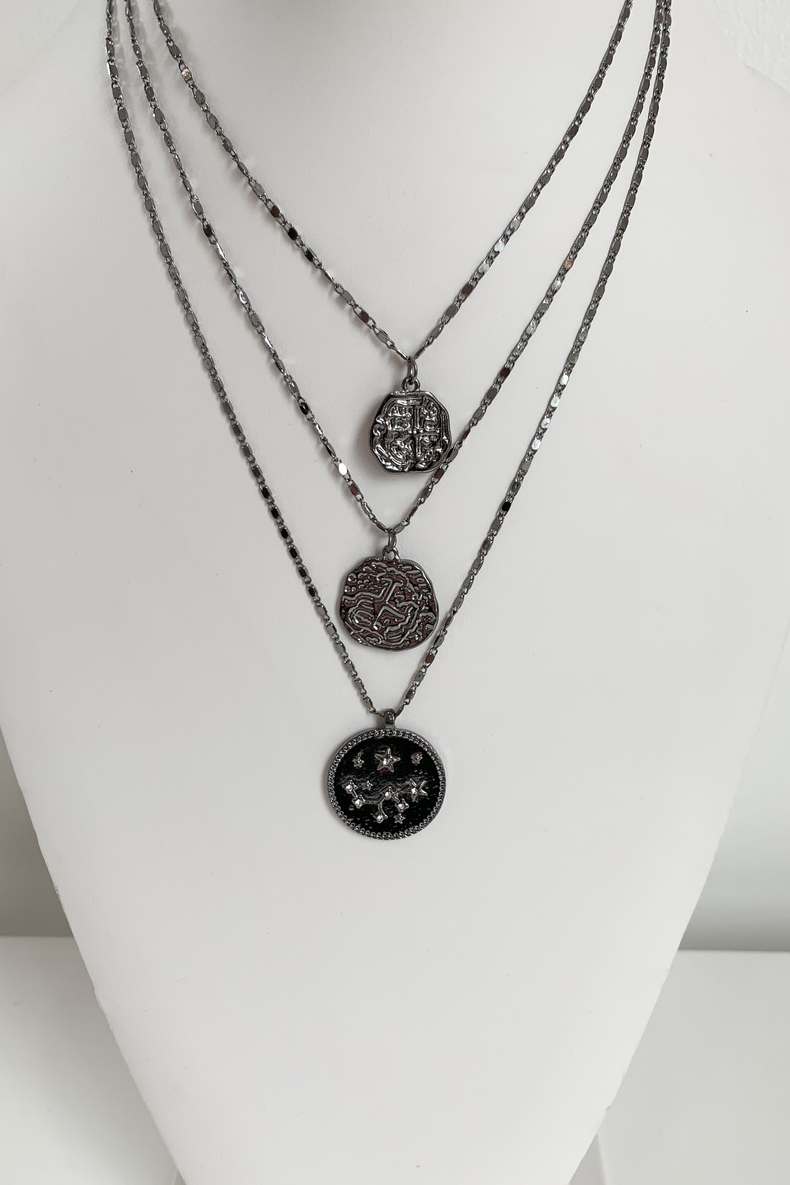 Mayan Stars Necklace-Gunmetal