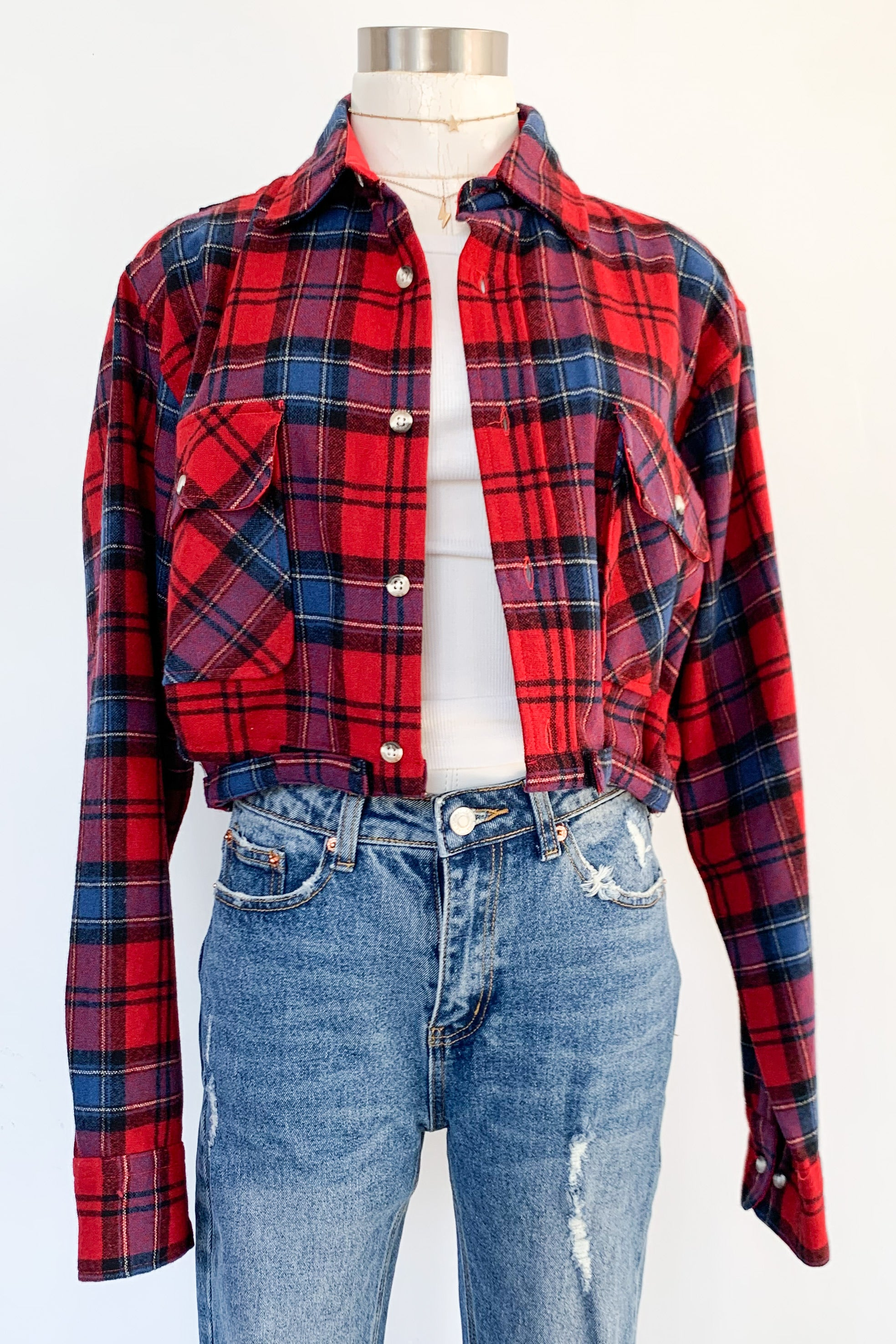 Vintage Cropped Red & Navy Flannel Jacket-AC/DC