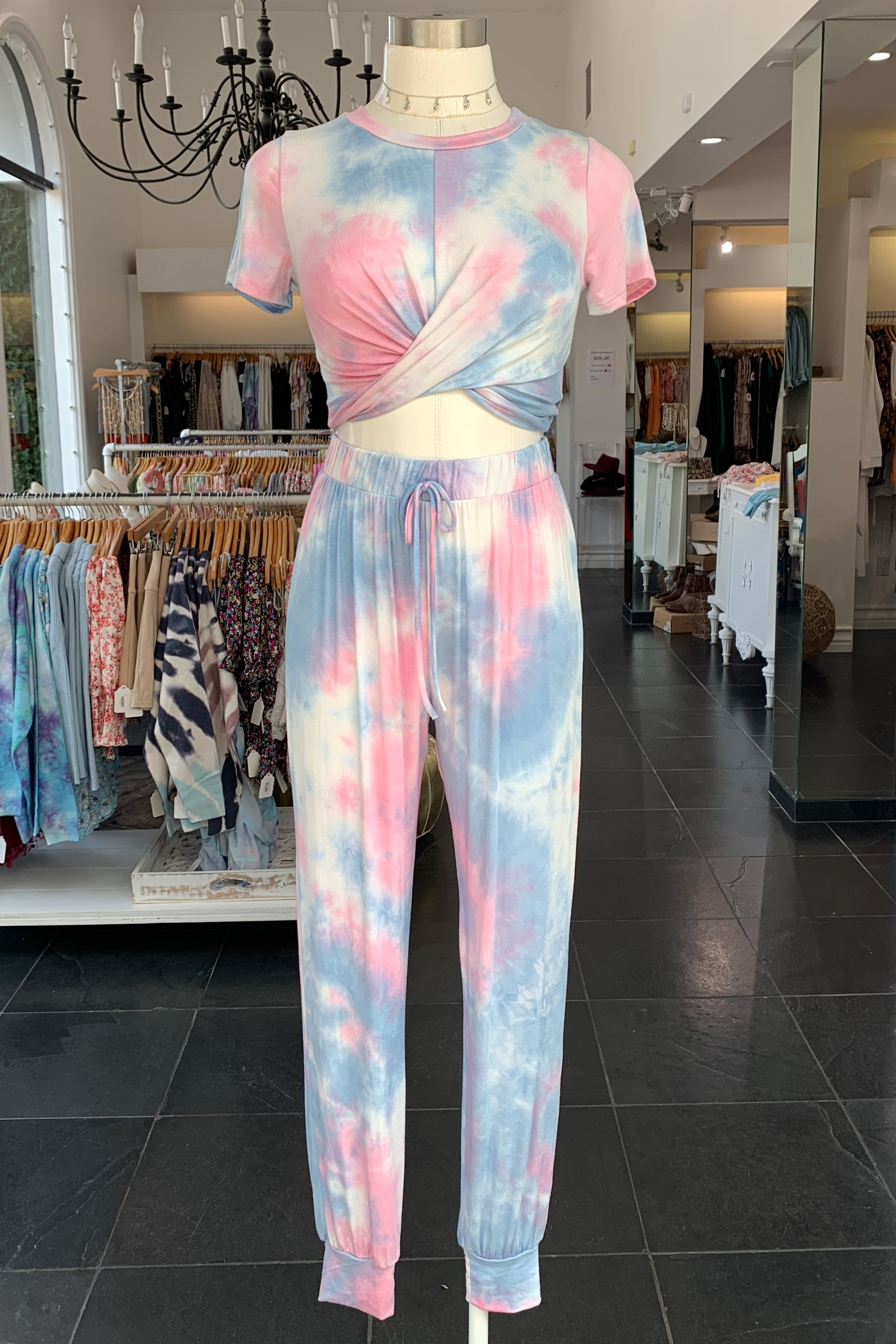 Beach Riot Lounge Set-Pink & Sky