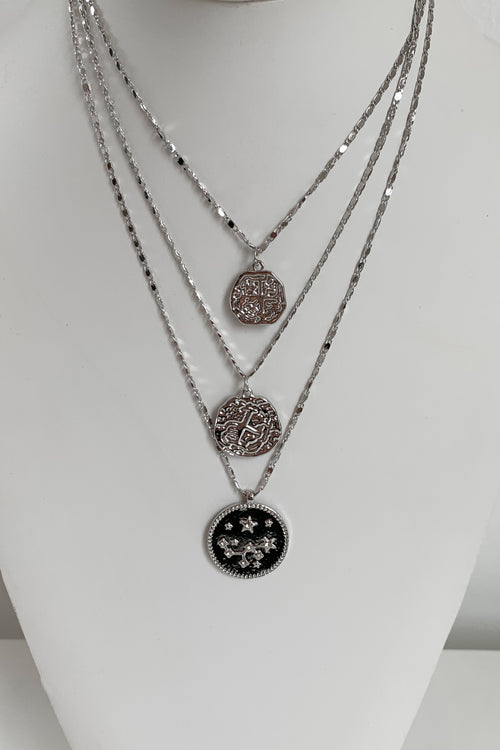 Mayan Stars Necklace-Silver