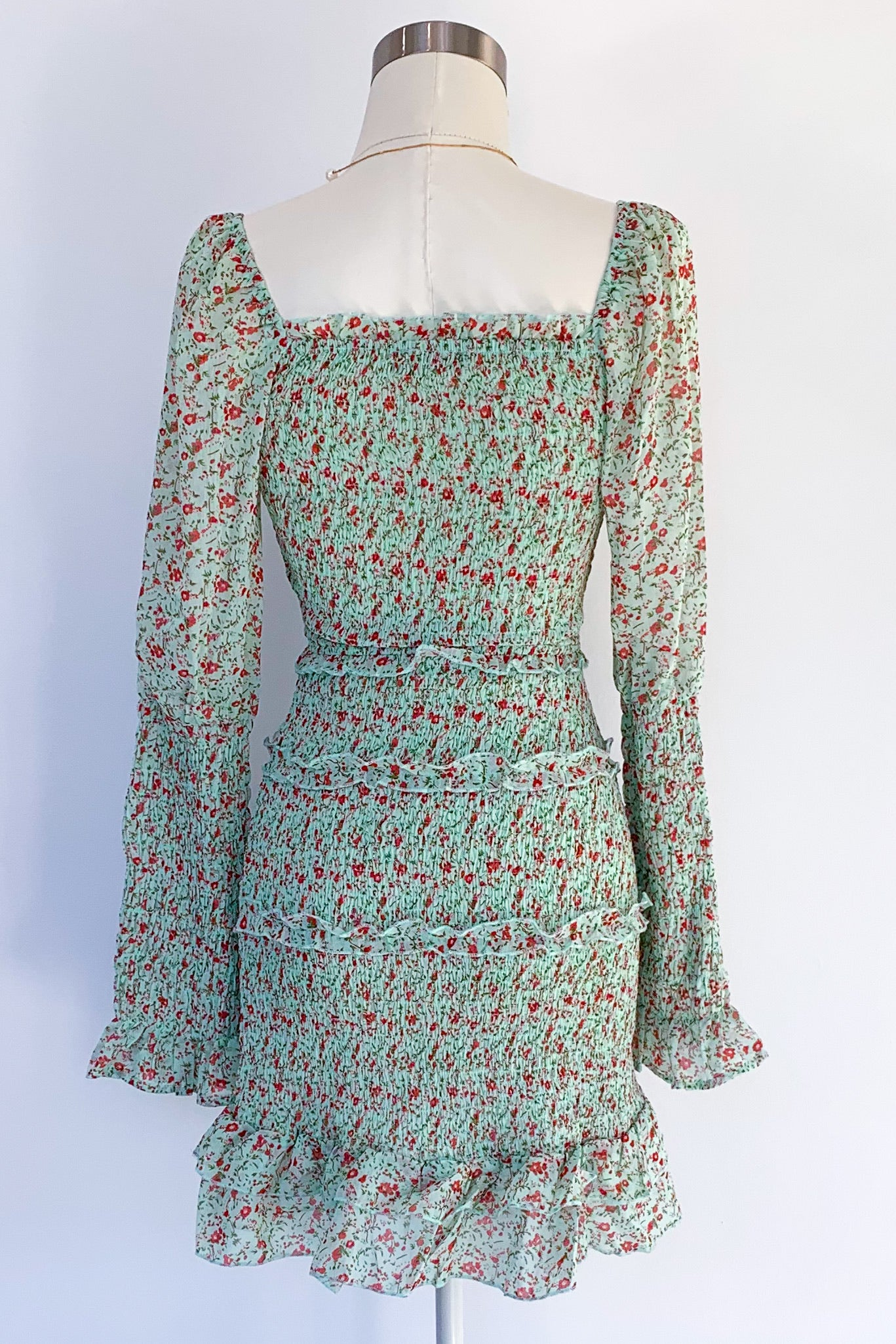 Clemence Mini Dress-Mint Floral