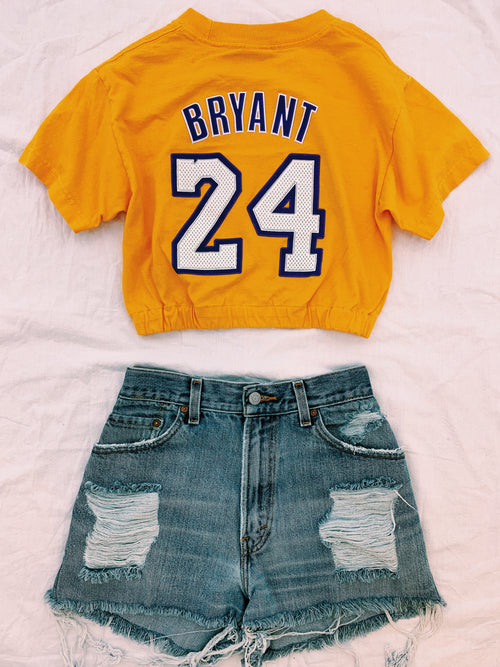Vintage Sports Cropped Banded Tee-Yellow