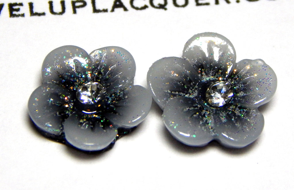 Grey and Black Flower Nail Charms (2)