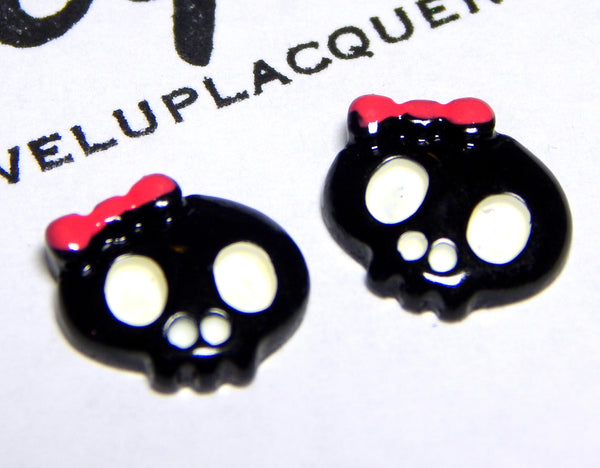 Black Skull Girl Nail Charms (2)