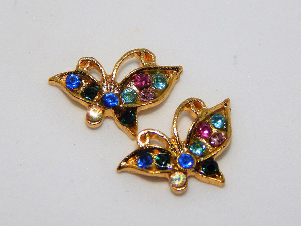 Sparkly Rainbow Butterfly Nail Charms (Set of 2)