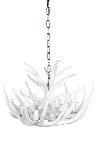 ANTLER CHANDELIER - 6 ARM WHITE - CL