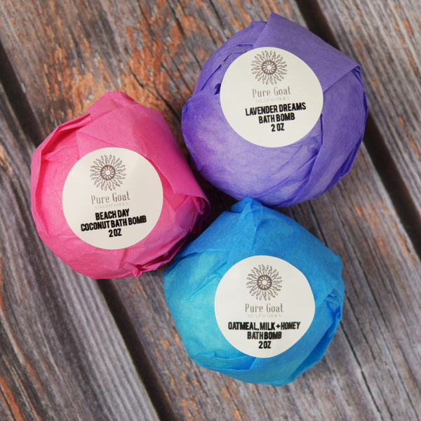 Bath Bomb Set of 3 - Pure Goat Soapworks