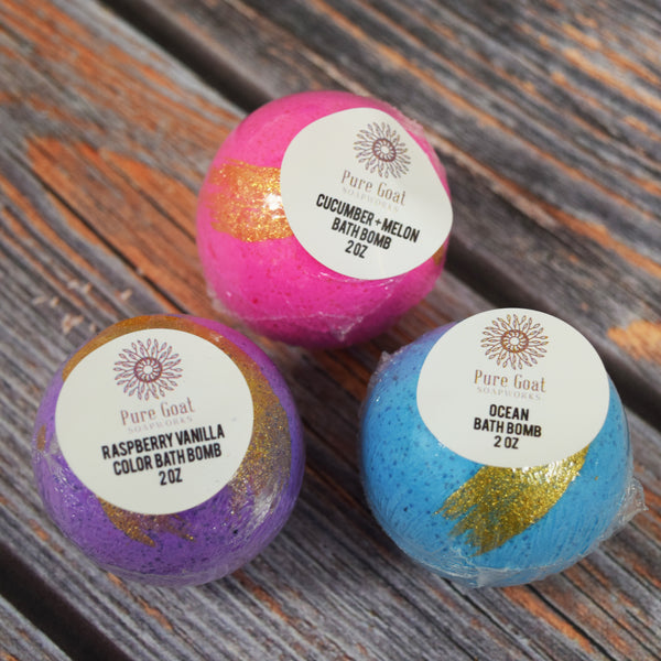 Color Bath Bomb Set of 3 (NEW!) - Pure Goat Soapworks