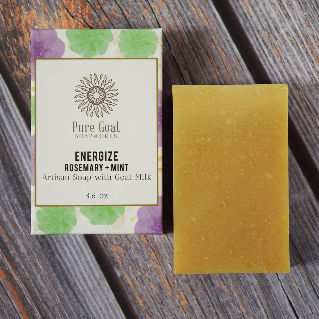 Energize Rosemary + Mint Goat Milk Soap - Pure Goat Soapworks
