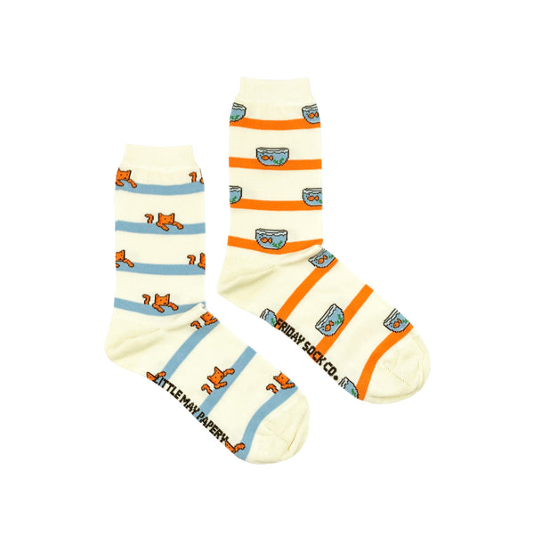 Cat +  Fish Socks by Little May Papery X Friday Sock Co
