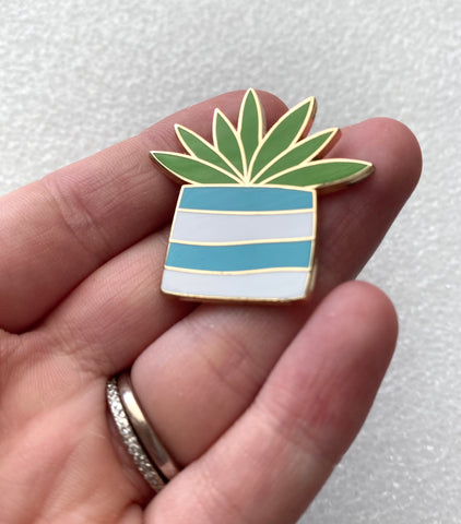 Gold Plated Plant Lover Enamel pin