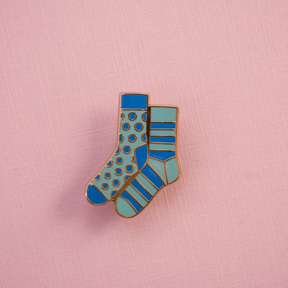 Gold Plated Blue Mismatched Sock Pin