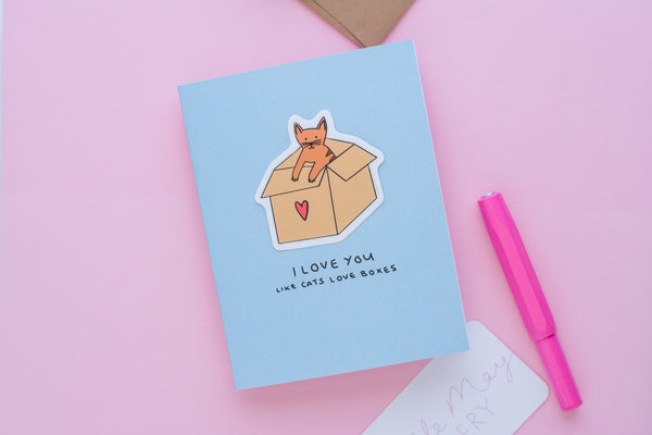 Love You Like Cats Love Boxes (Vinyl Sticker Greeting Card)