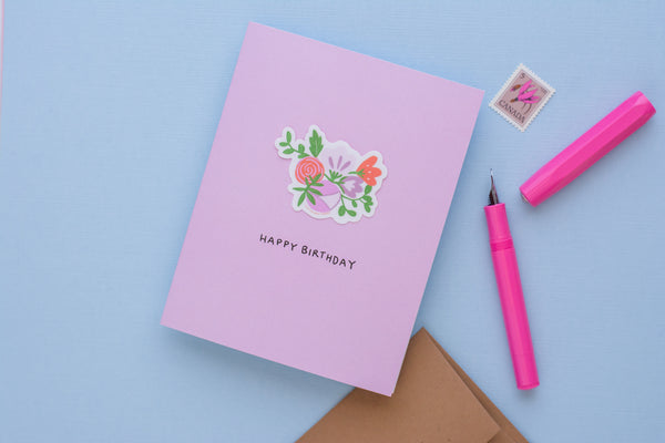 Happy Birthday Flowers (Vinyl Sticker Greeting Card)