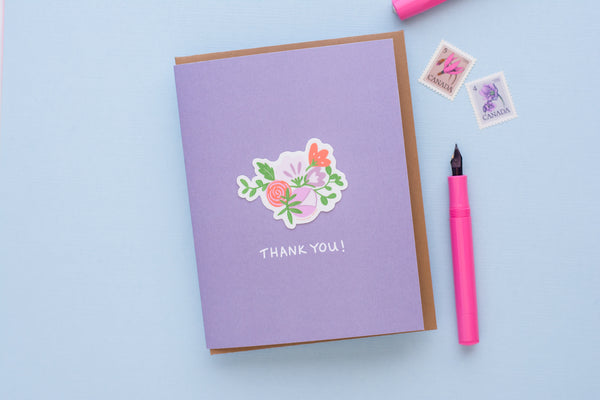 Thank You Flowers (Vinyl Sticker Greeting Card)
