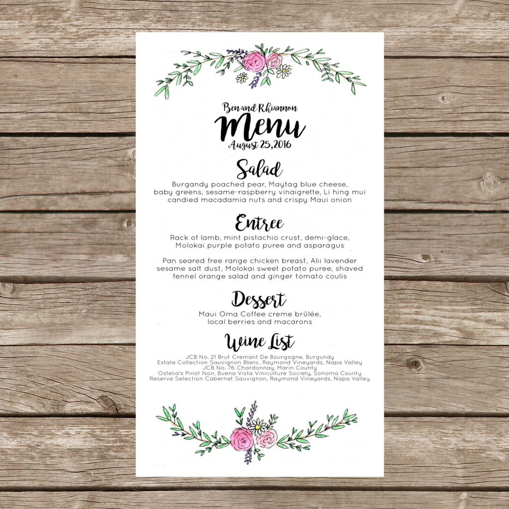 Wildflower Semi-Custom Wedding Menu.