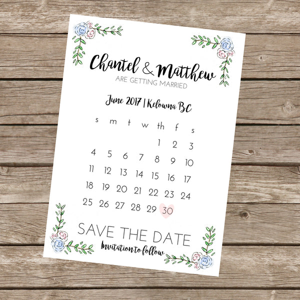 Semi-Custom Calendar Save The Date