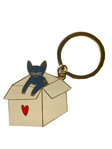 Cat in a Box Key Chain (Grey cat)