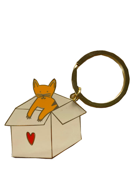 Cat in a Box Key Chain (orange cat)
