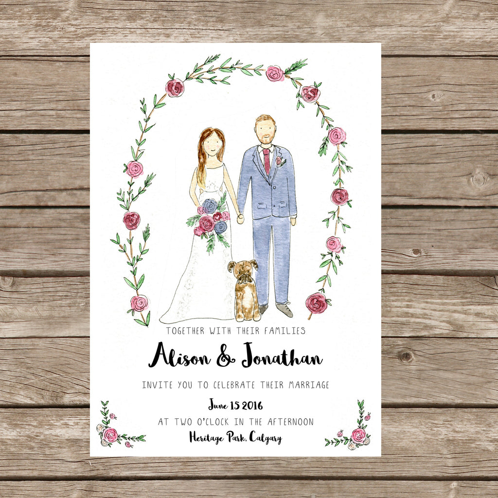 Semi-Custom: Rosemary Wedding Invitation