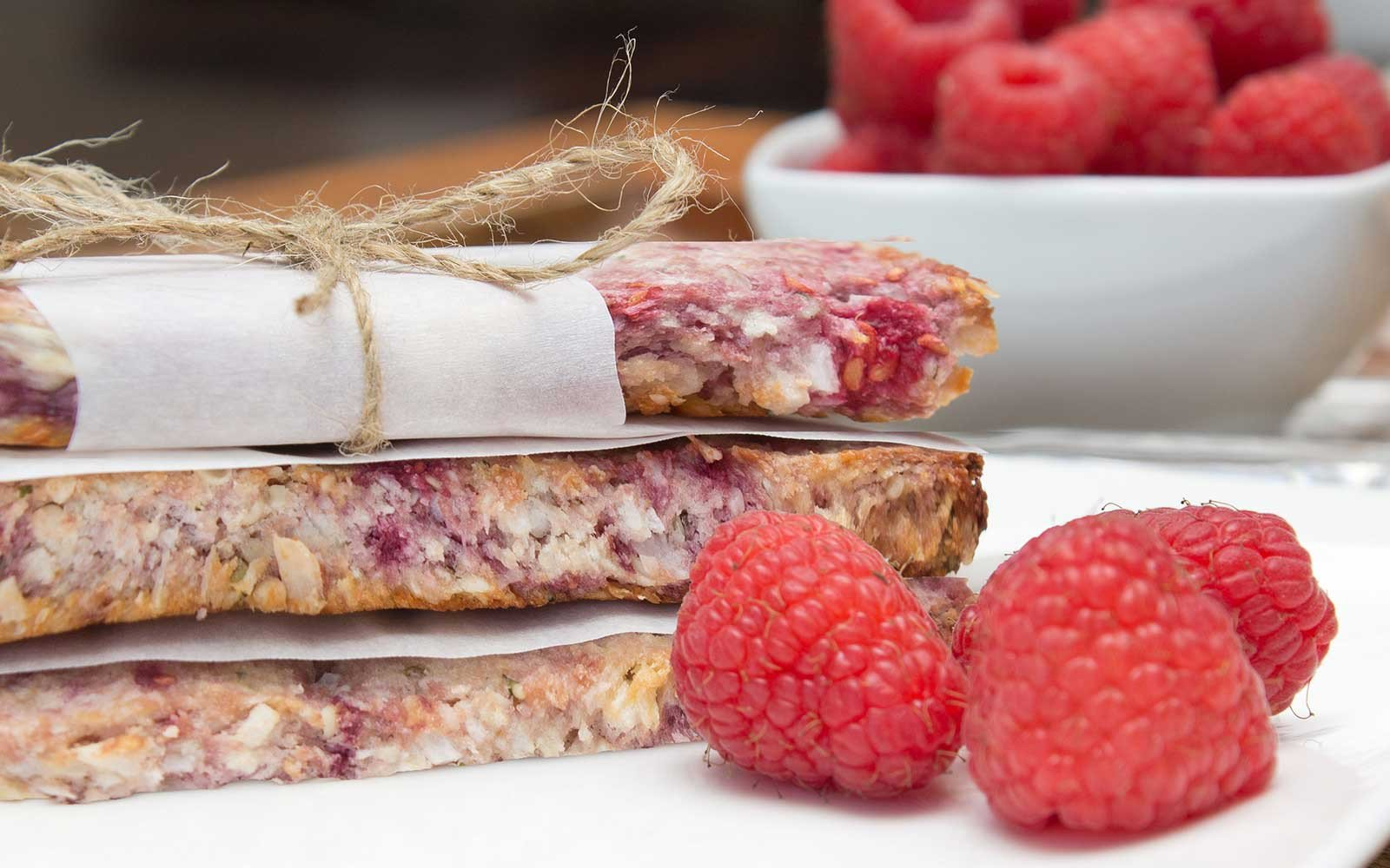 Raspberry Coconut Protein Bars