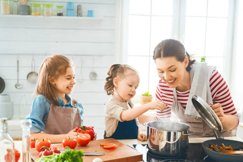 Mom and kids cooking
