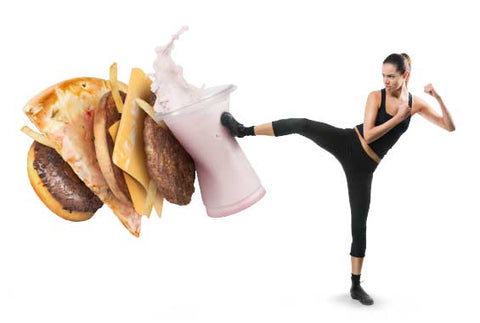 nutracelle woman kicking junk food