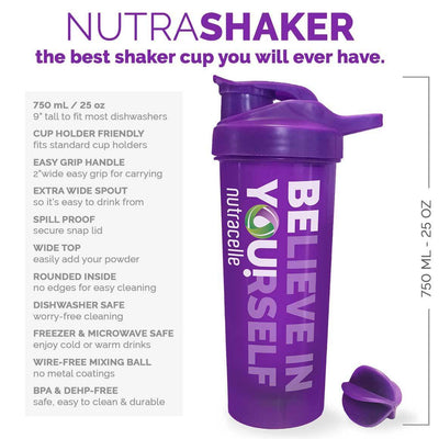 NUTRASHAKER Best Shaker Bottle for Protein Powder Drinks.