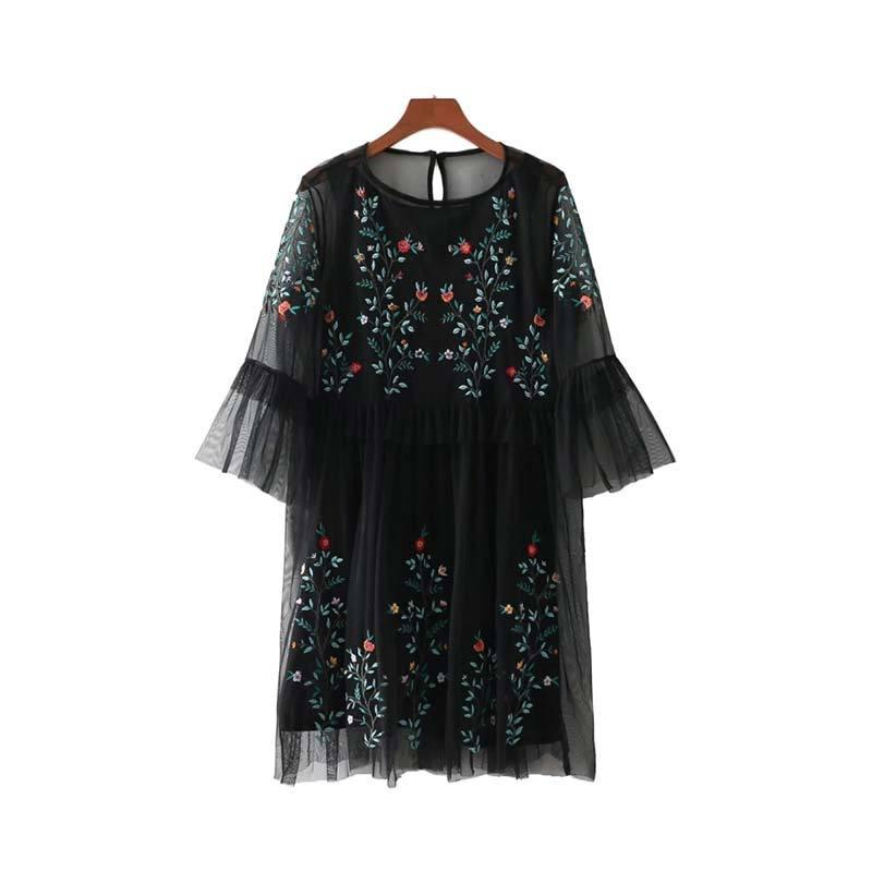 Floral Embroidered Mesh Dress - odette + ophelia