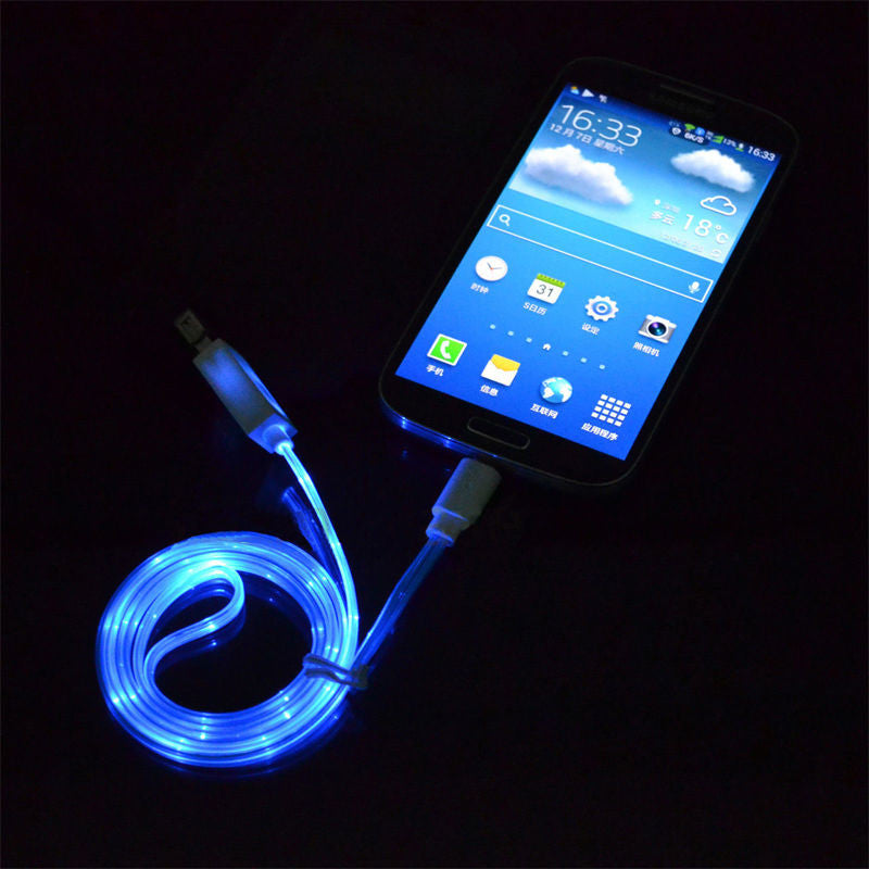 Glow In The Dark Light Up LED Charger For Smart Phones (micro USB And ...