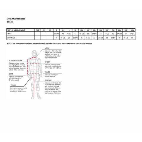 size chart for dm1331