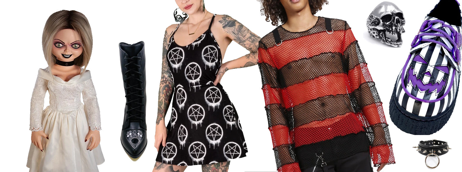 collage of products available in store. left to right: tiffany doll bride of chucky, pair of ouija boots, inverted pentagram dress, mesh red/black striped shirt, skull ring, purple/white striped shoes and spiked collar