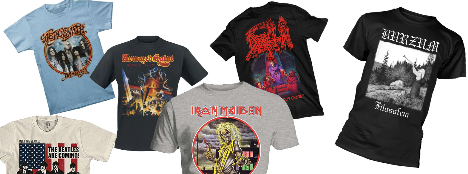 collage of men's band t-shirts. left to right: the beatles, aerosmith, armored saint, iront maiden, death, and burzum