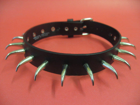 Real Leather Choker with Bent Cone Spikes (Solstice)