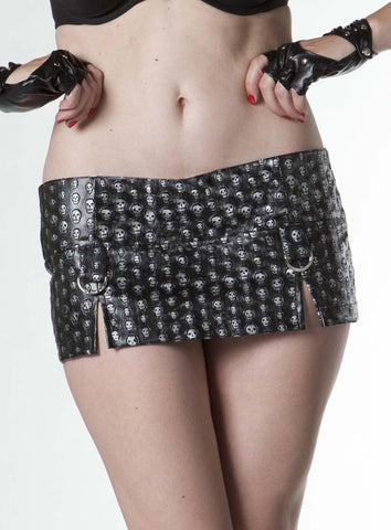 Embossed Skull PVC Mini Skirt (Bedroom Stories) (NO SILVER DETAIL) VEGAN