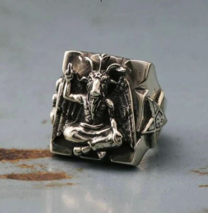 Square Baphomet Goat Ring