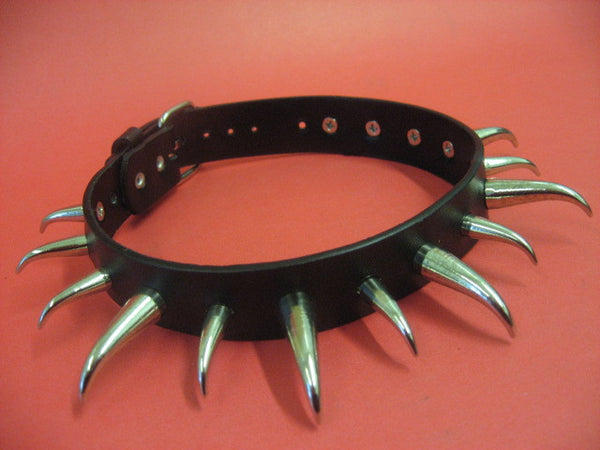 Real Leather Choker with Short & Long Bent Cone Spikes (Solstice)