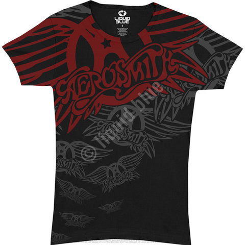 "Aerosmith ""Walk this Way"" Women's Tee (Liquid Blue)"
