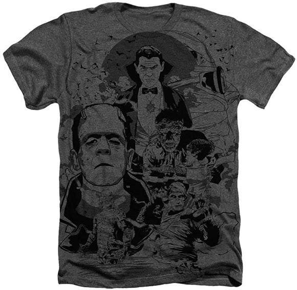 Universal Monsters Monster Pile Heather Charcoal T-Shirt