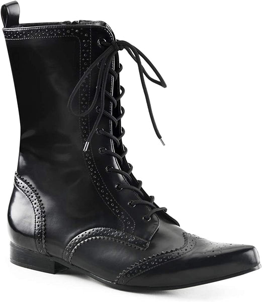 "Brogue-10 Vegan Leather 1"" Pointy Toe Boot"